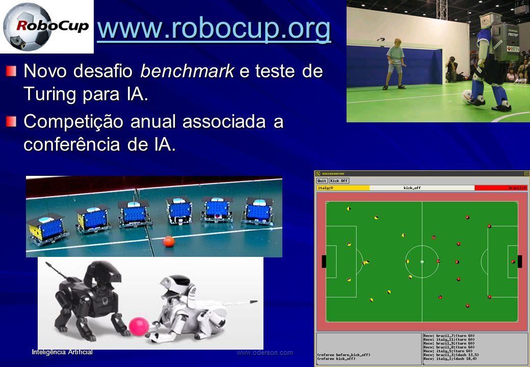 www.robocup.org Novo desafio benchmark e teste de Turing para IA.