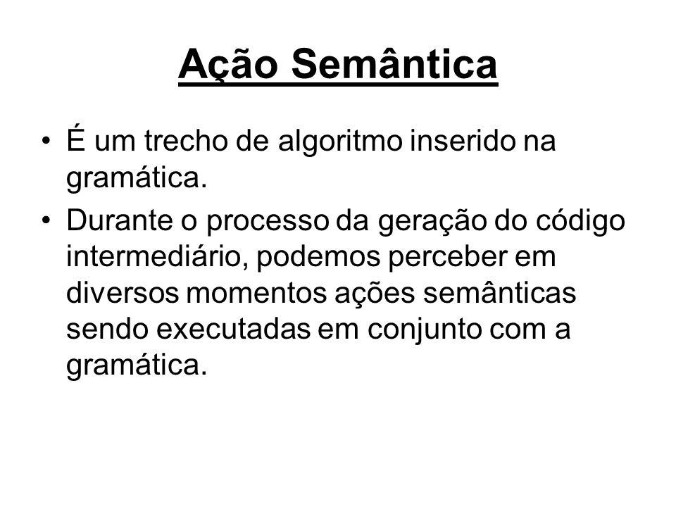 Ação Semântica É um trecho de algoritmo inserido na gramática.
