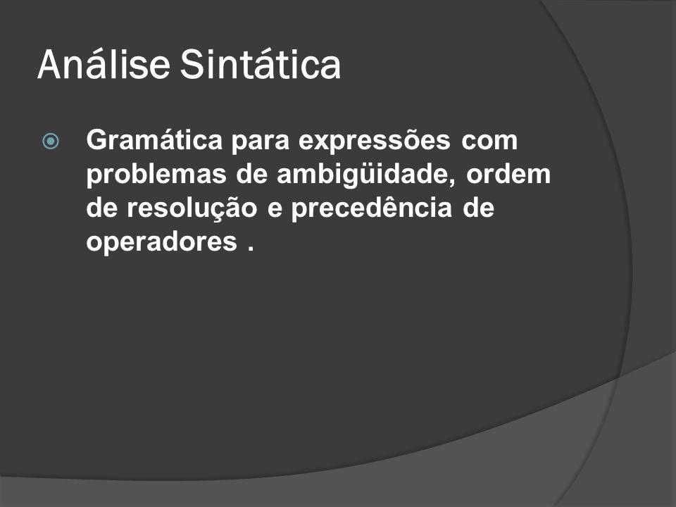 Análise Sintática Gramática para expressões com problemas de ambigüidade, ordem de resolução e precedência de operadores .