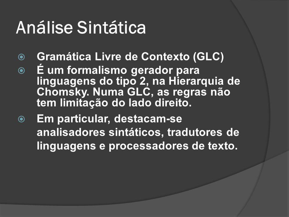 Análise Sintática Gramática Livre de Contexto (GLC)