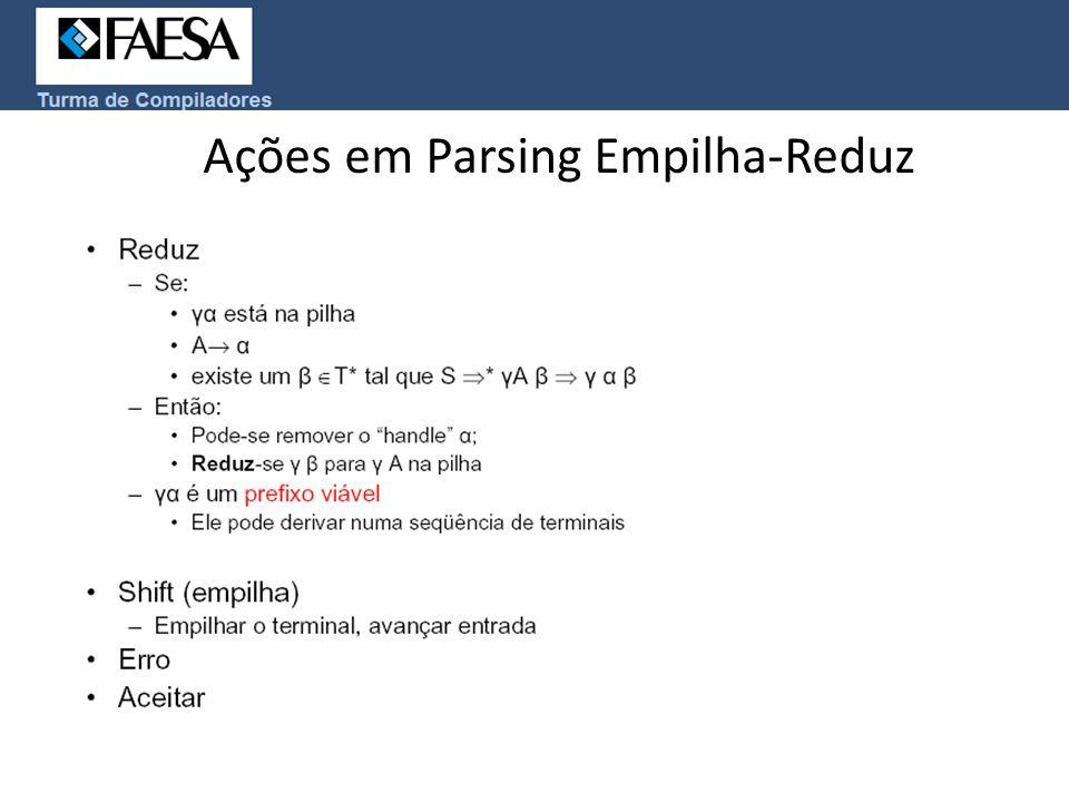 Ações em Parsing Empilha-Reduz