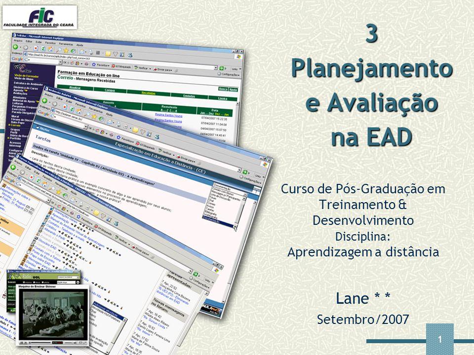 3 Planejamento e Avaliação na EAD