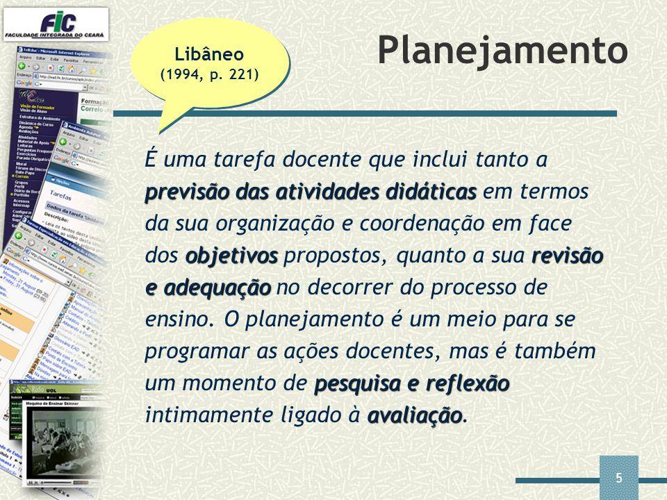 Planejamento Libâneo (1994, p. 221)