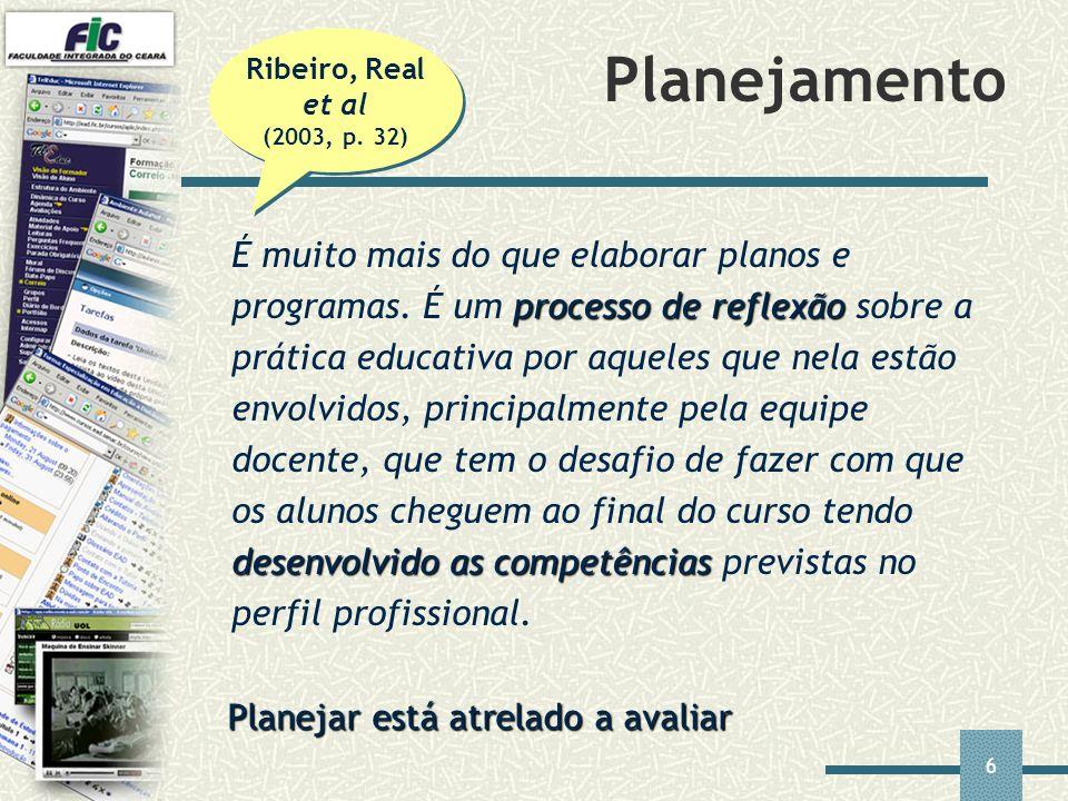 Ribeiro, Real et al (2003, p. 32) Planejamento.
