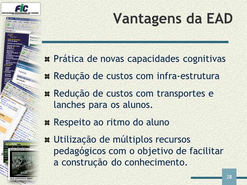 Vantagens da EAD Prática de novas capacidades cognitivas