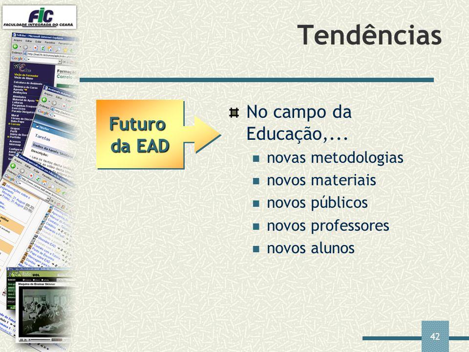Tendências No campo da Educação,... Futuro da EAD novas metodologias