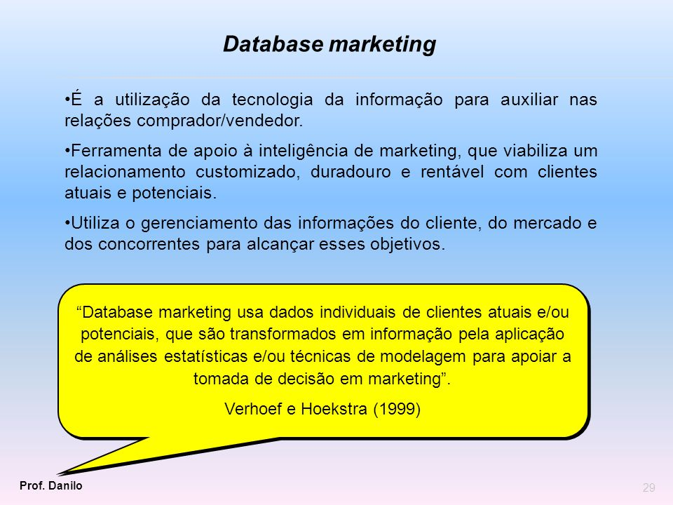 Database marketingÉ a utilização da tecnologia da informação para auxiliar nas relações comprador/vendedor.