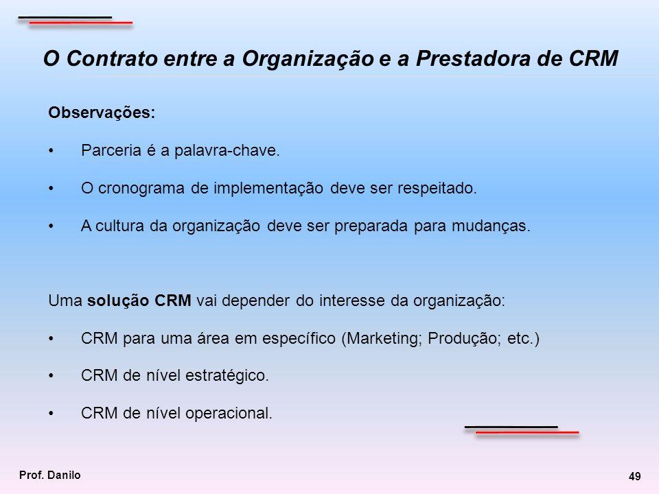 O Contrato entre a Organização e a Prestadora de CRM