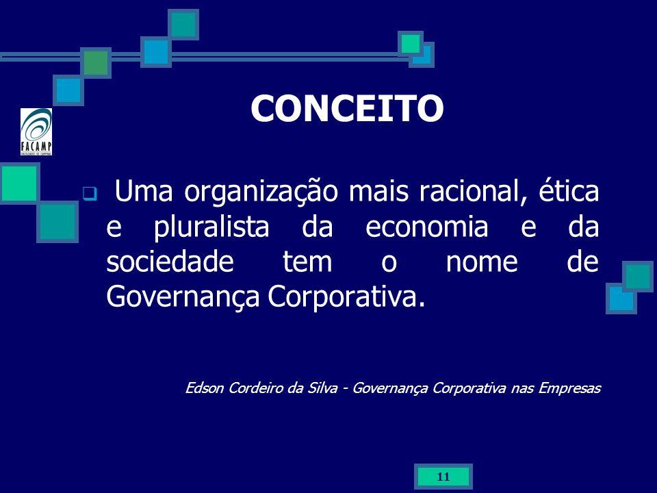 CONCEITO Uma organização mais racional, ética e pluralista da economia e da sociedade tem o nome de Governança Corporativa.