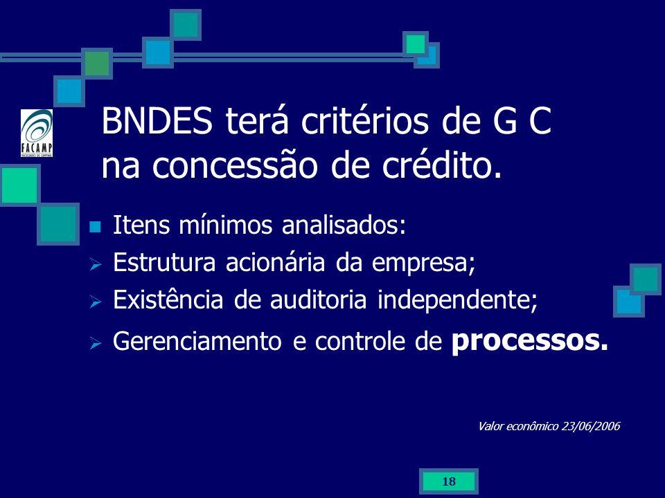 BNDES terá critérios de G C na concessão de crédito.