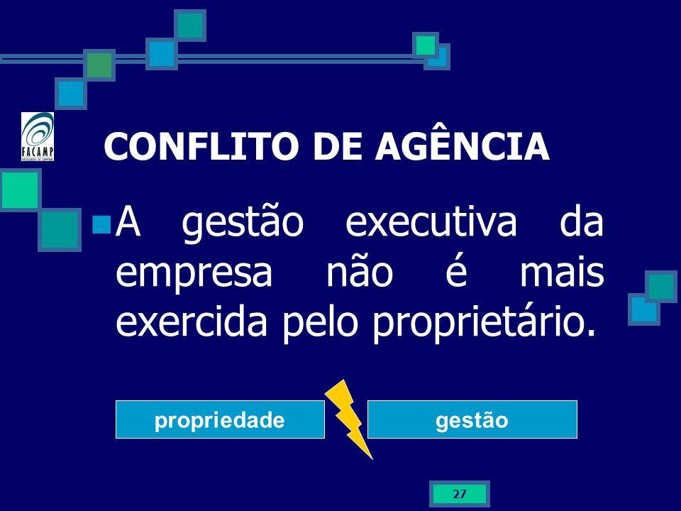 A gestão executiva da empresa não é mais exercida pelo proprietário.