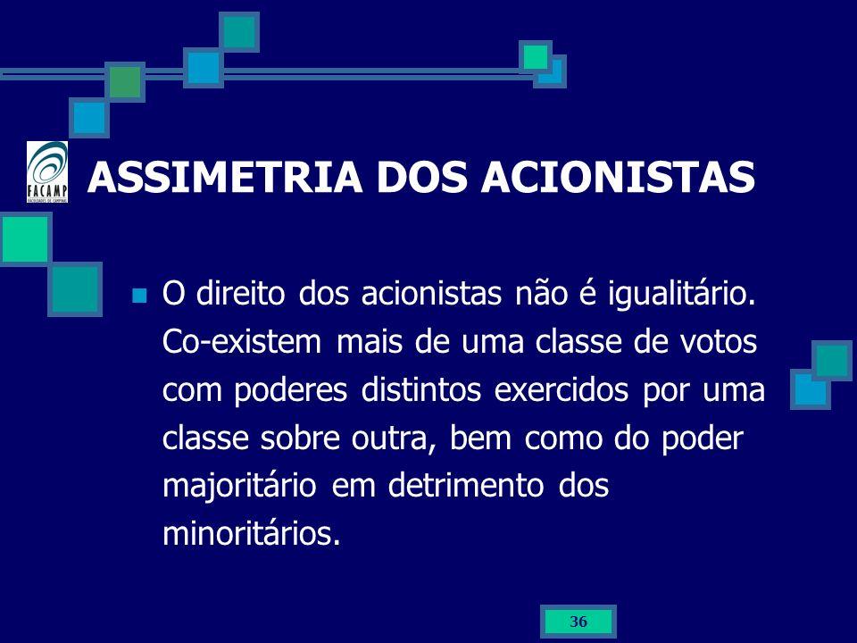 ASSIMETRIA DOS ACIONISTAS