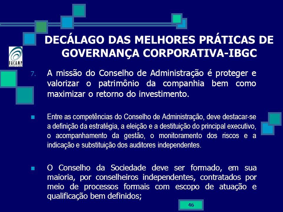 DECÁLAGO DAS MELHORES PRÁTICAS DE GOVERNANÇA CORPORATIVA-IBGC