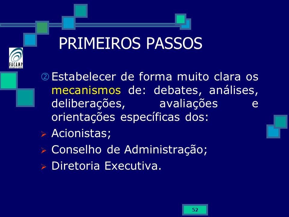 PRIMEIROS PASSOS Estabelecer de forma muito clara os mecanismos de: debates, análises, deliberações, avaliações e orientações específicas dos:
