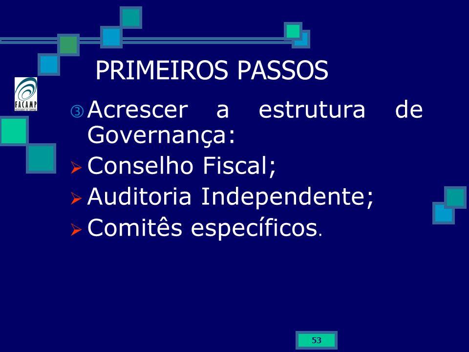 PRIMEIROS PASSOS Acrescer a estrutura de Governança: Conselho Fiscal;