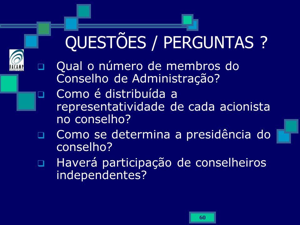 QUESTÕES / PERGUNTAS Qual o número de membros do Conselho de Administração Como é distribuída a representatividade de cada acionista no conselho