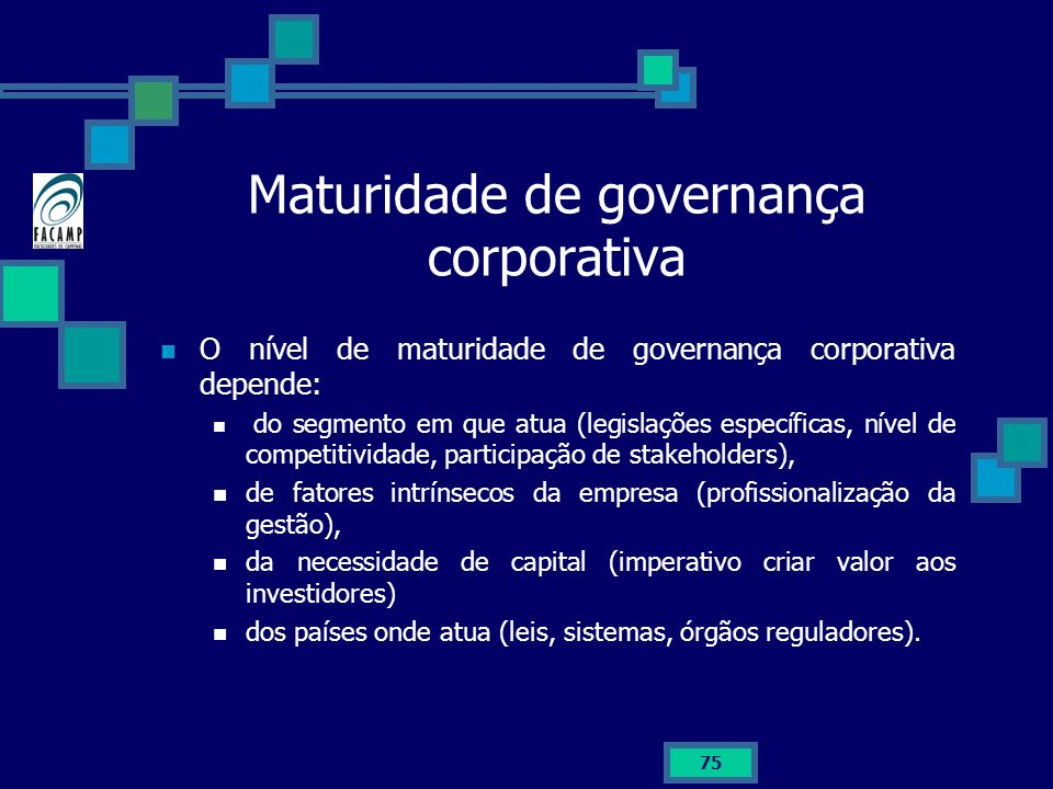 Maturidade de governança corporativa