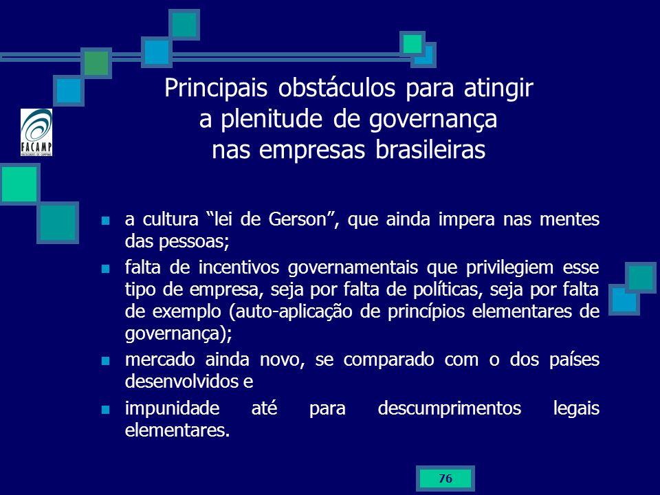 Principais obstáculos para atingir a plenitude de governança nas empresas brasileiras