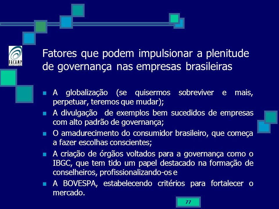 Fatores que podem impulsionar a plenitude de governança nas empresas brasileiras
