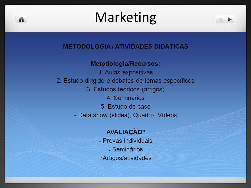 METODOLOGIA / ATIVIDADES DIDÁTICAS