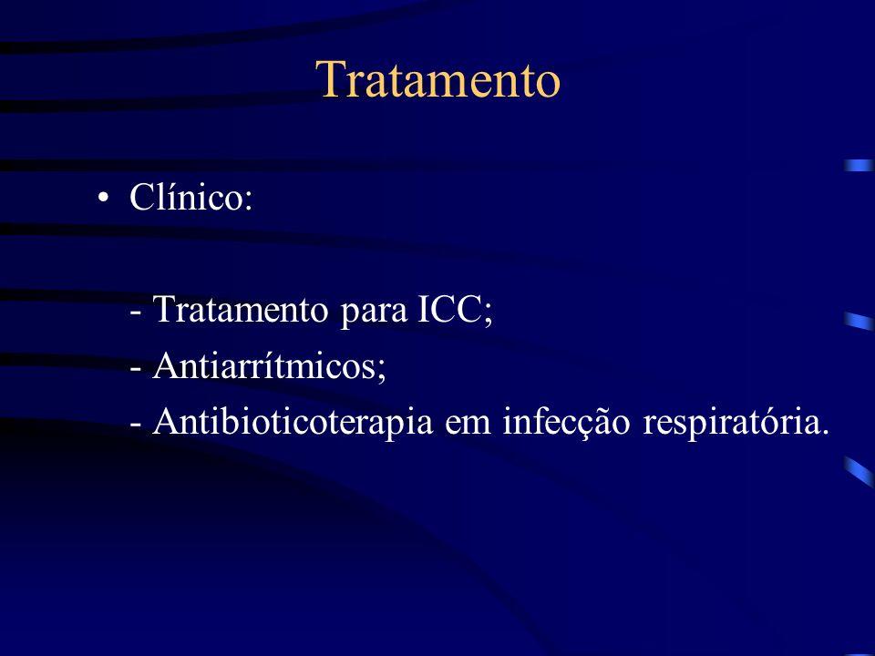 Tratamento Clínico: - Tratamento para ICC; - Antiarrítmicos;