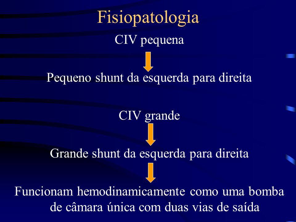 Fisiopatologia CIV pequena Pequeno shunt da esquerda para direita
