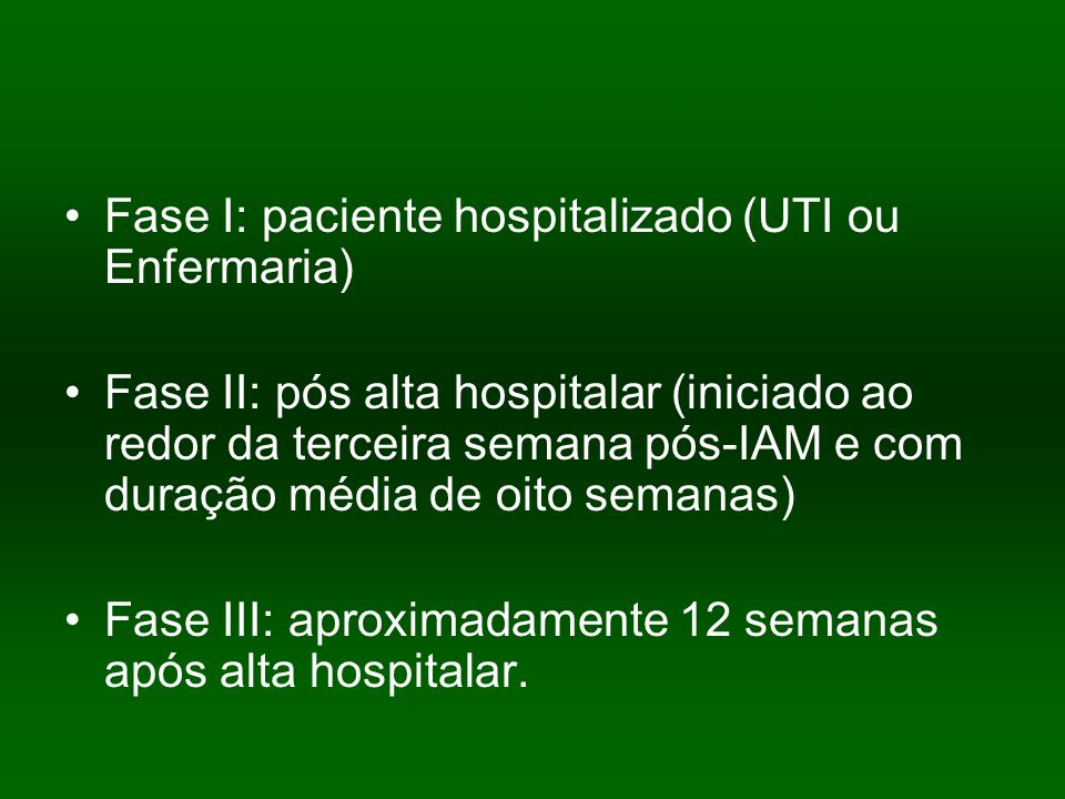 Fase I: paciente hospitalizado (UTI ou Enfermaria)