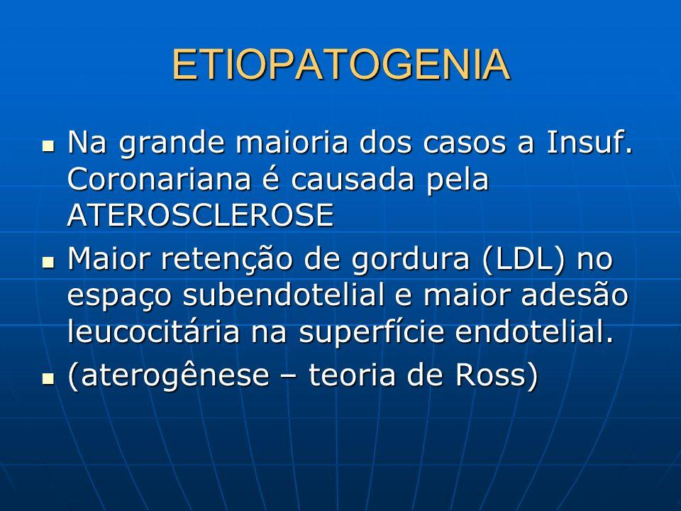 ETIOPATOGENIANa grande maioria dos casos a Insuf. Coronariana é causada pela ATEROSCLEROSE.