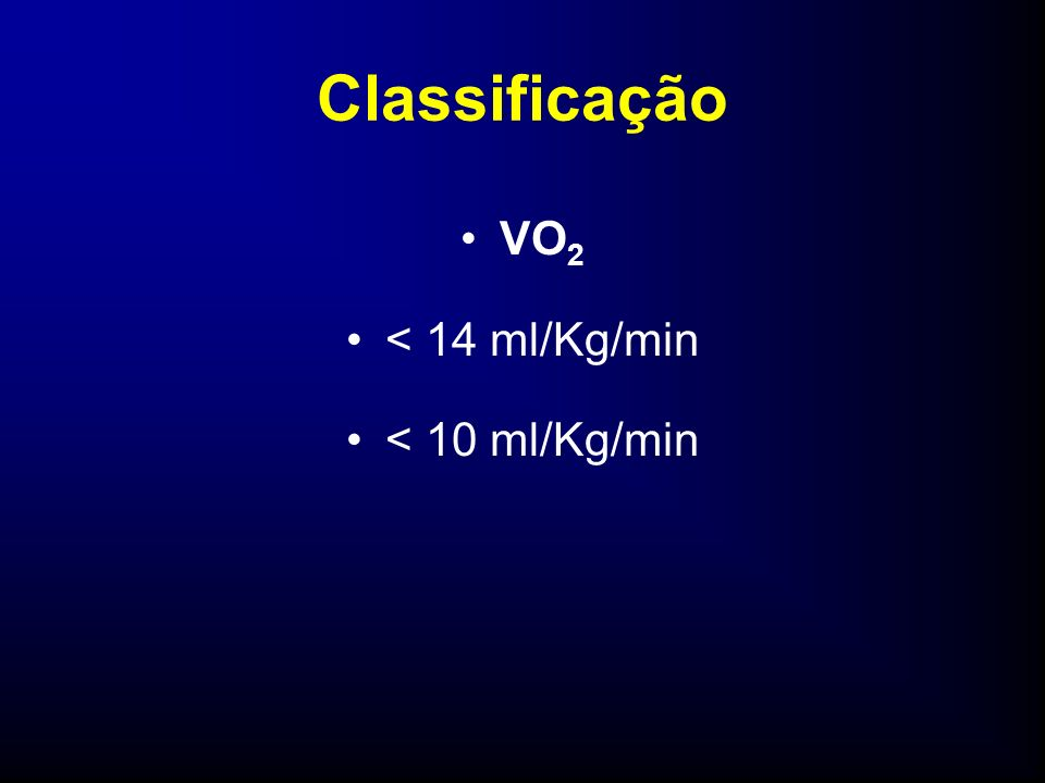 Classificação VO2 < 14 ml/Kg/min < 10 ml/Kg/min