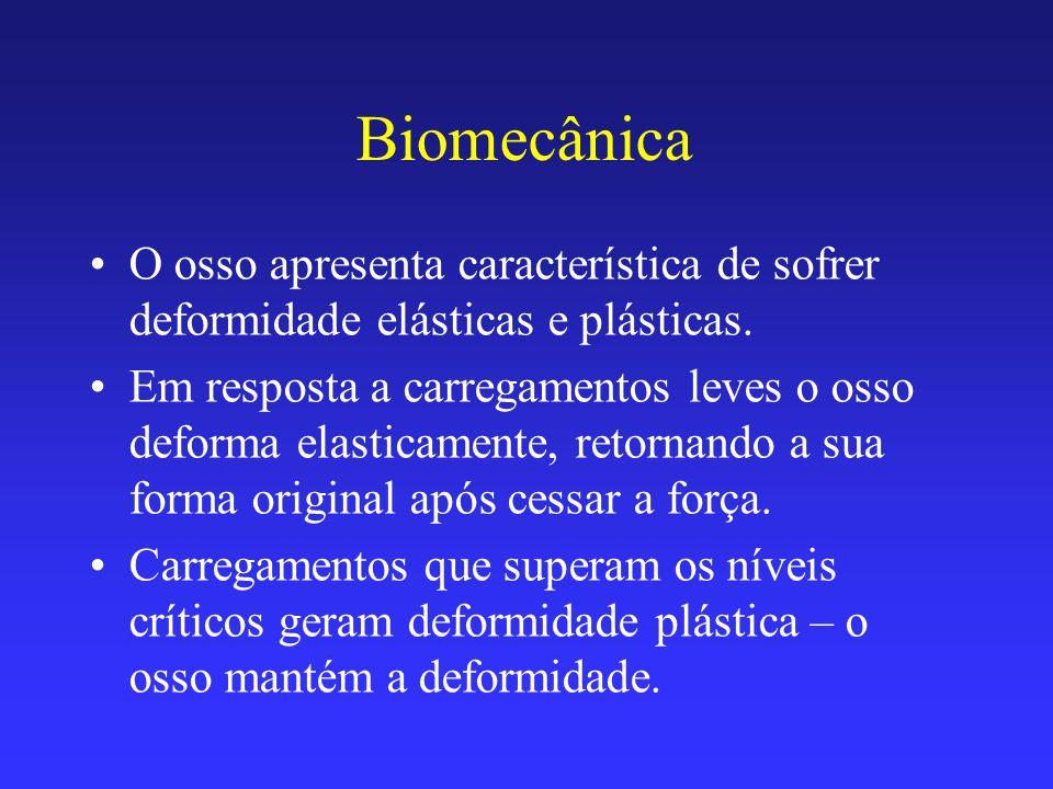 Biomecânica O osso apresenta característica de sofrer deformidade elásticas e plásticas.