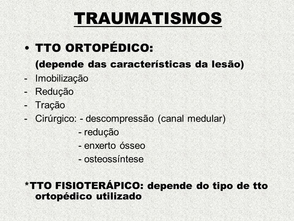 TRAUMATISMOS TTO ORTOPÉDICO: (depende das características da lesão)