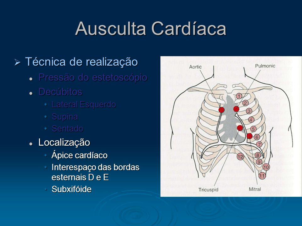 Ausculta Cardíaca Técnica de realização Pressão do estetoscópio
