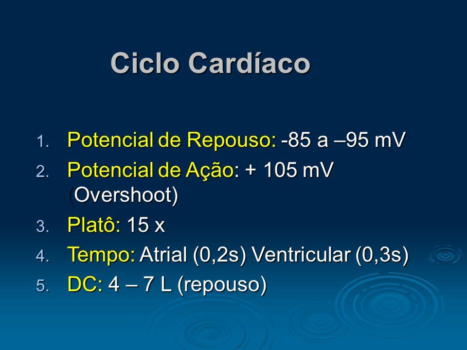 Ciclo Cardíaco Potencial de Repouso: -85 a –95 mV
