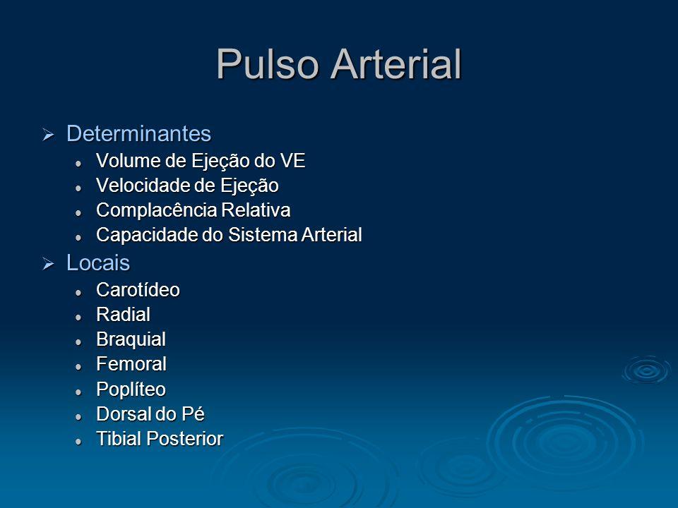 Pulso Arterial Determinantes Locais Volume de Ejeção do VE