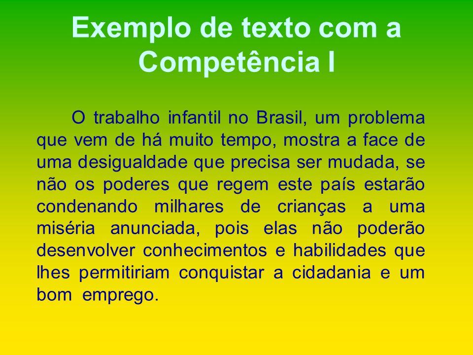 Exemplo de texto com a Competência I