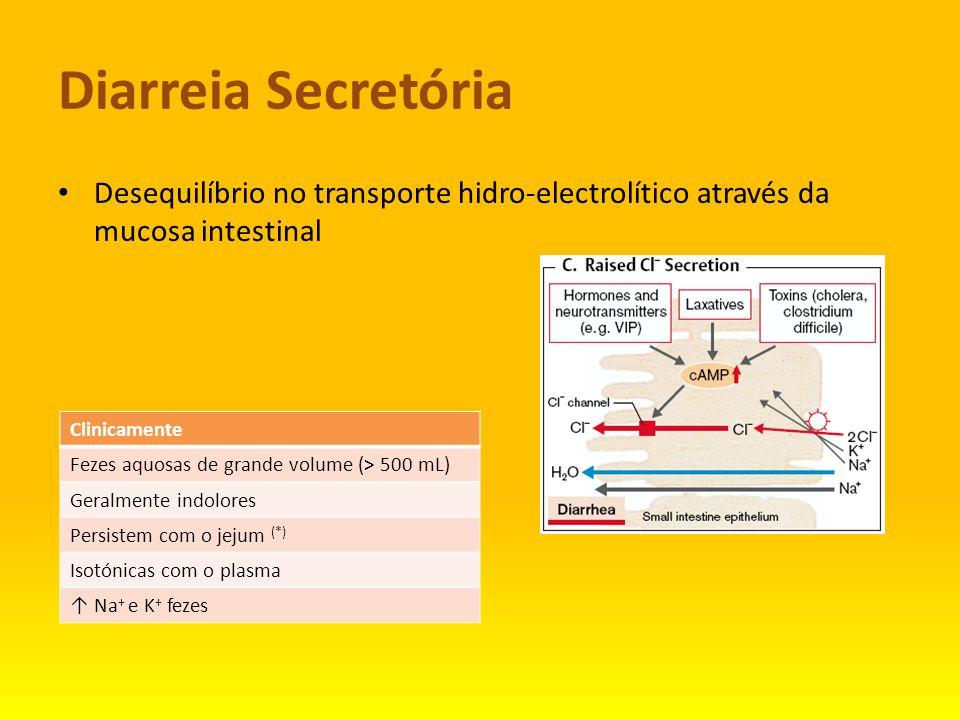 Diarreia Secretória Desequilíbrio no transporte hidro-electrolítico através da mucosa intestinal. Clinicamente.