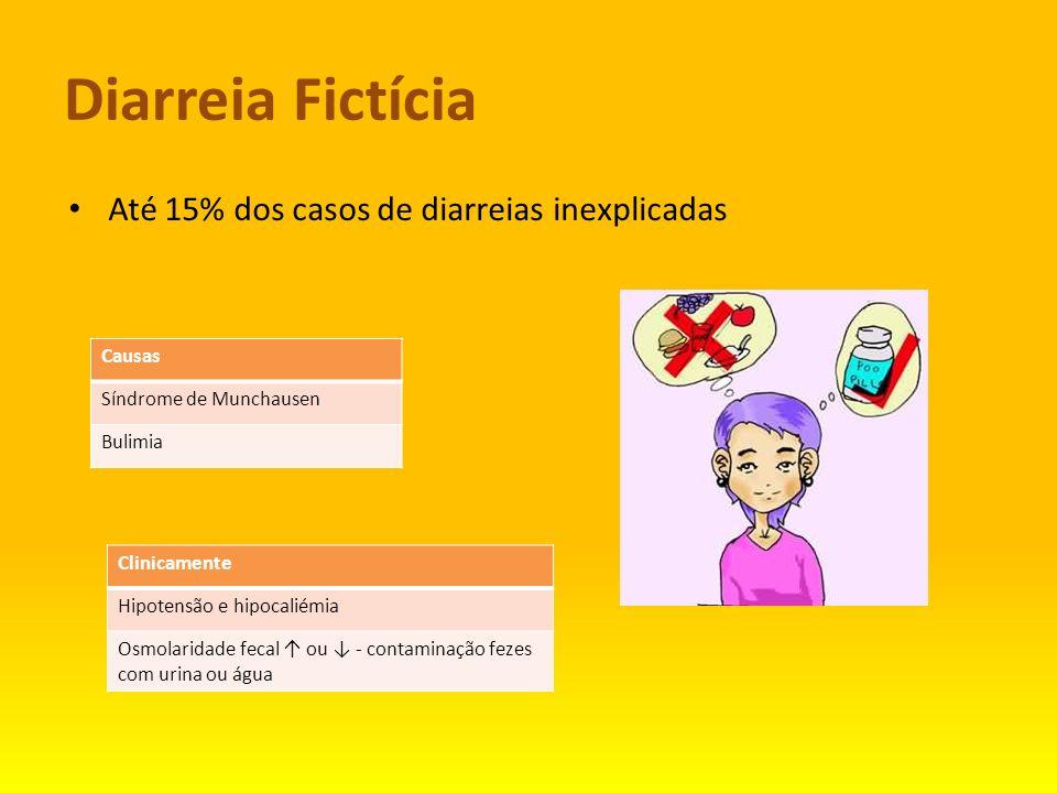 Diarreia Fictícia Até 15% dos casos de diarreias inexplicadas Causas