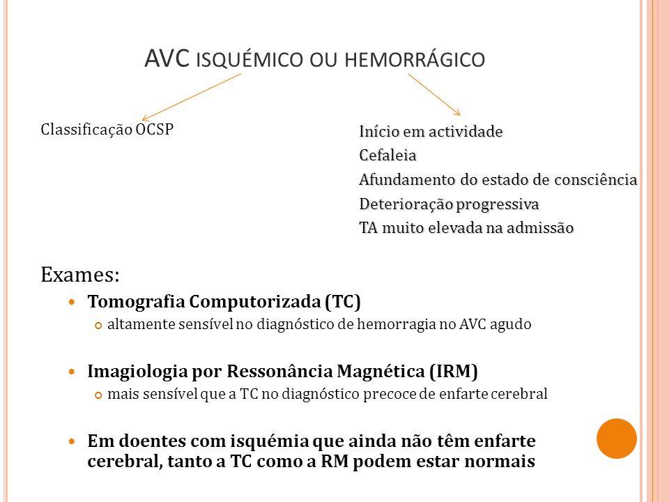 AVC isquémico ou hemorrágico