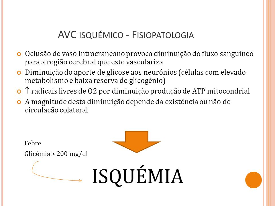 AVC isquémico - Fisiopatologia