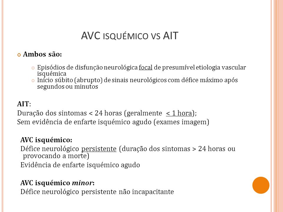 AVC isquémico vs AIT Ambos são: AIT: