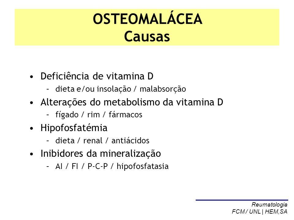 OSTEOMALÁCEA Causas Deficiência de vitamina D