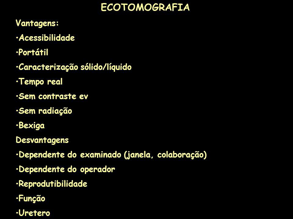 ECOTOMOGRAFIA Vantagens: Acessibilidade Portátil