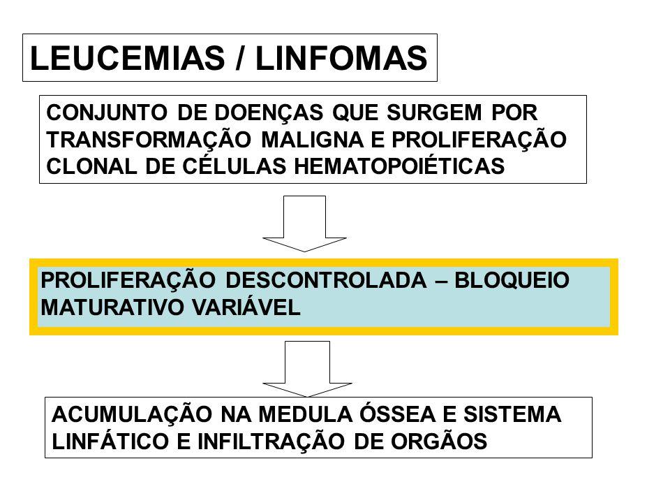 LEUCEMIAS / LINFOMAS CONJUNTO DE DOENÇAS QUE SURGEM POR TRANSFORMAÇÃO MALIGNA E PROLIFERAÇÃO CLONAL DE CÉLULAS HEMATOPOIÉTICAS.