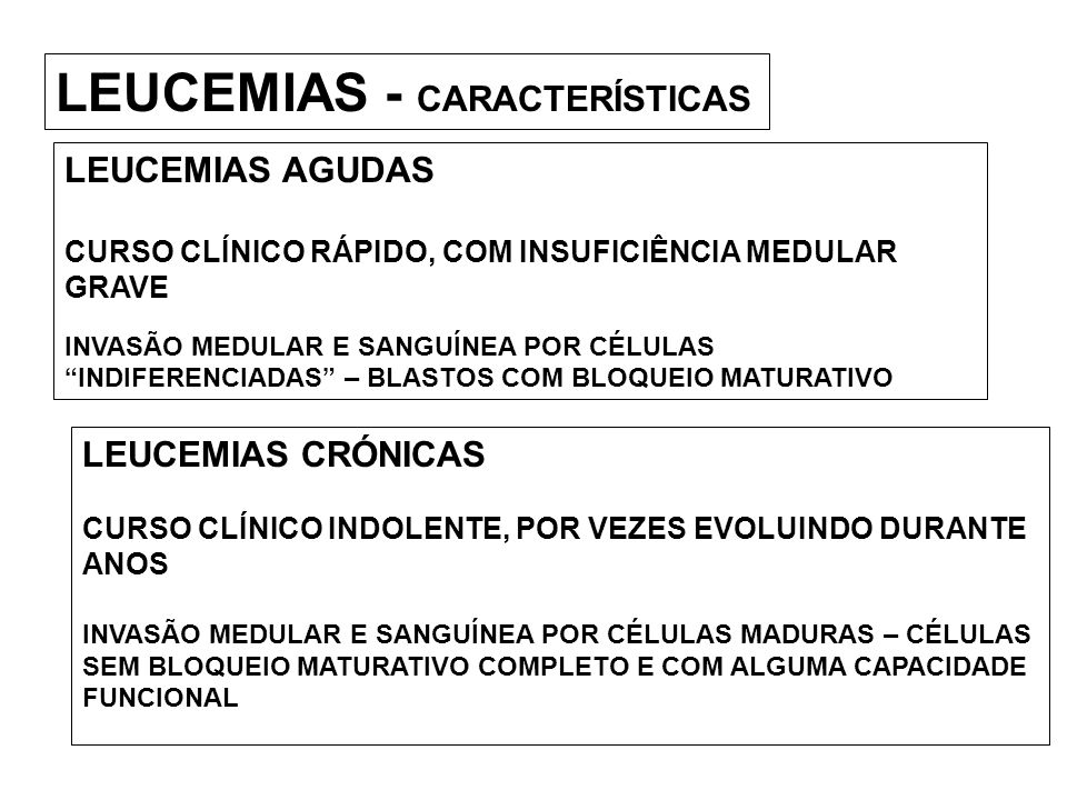 LEUCEMIAS - CARACTERÍSTICAS