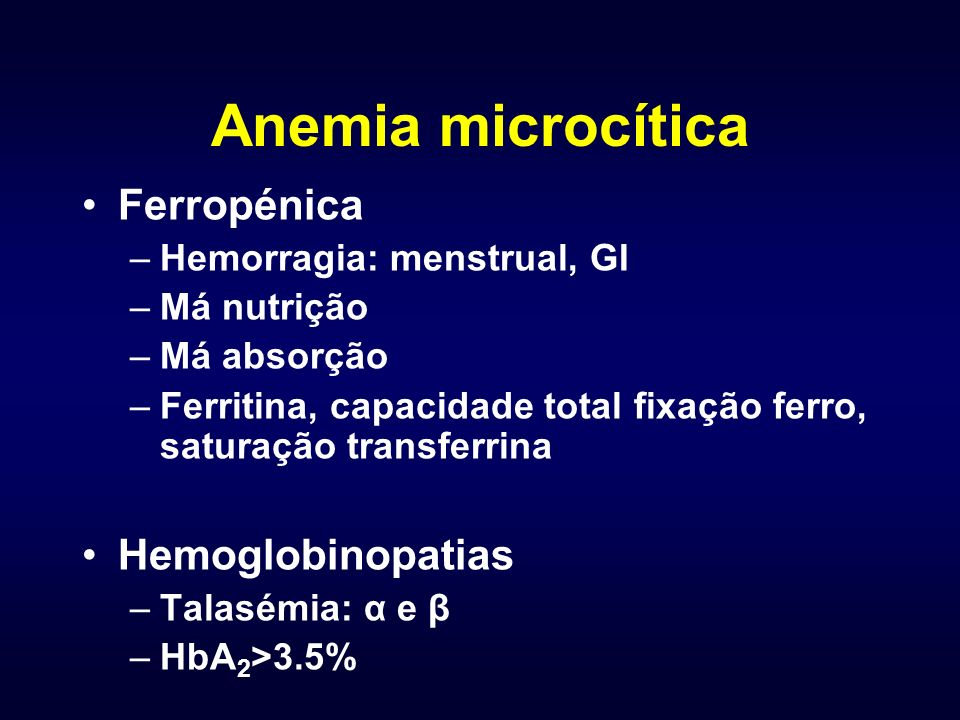 Anemia microcítica Ferropénica Hemoglobinopatias