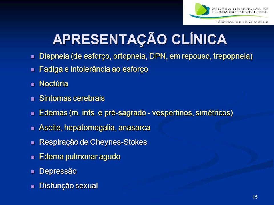 APRESENTAÇÃO CLÍNICA Dispneia (de esforço, ortopneia, DPN, em repouso, trepopneia) Fadiga e intolerância ao esforço.