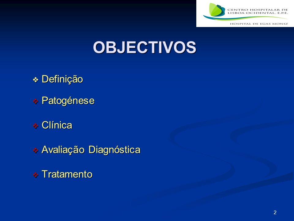 OBJECTIVOS Definição Patogénese Clínica Avaliação Diagnóstica