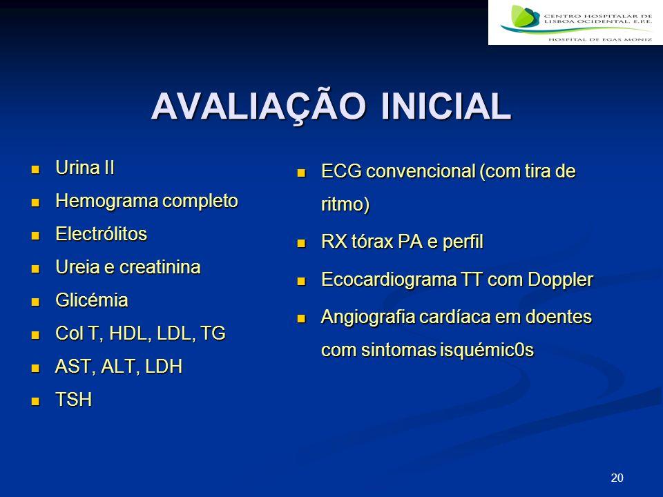AVALIAÇÃO INICIAL Urina II Hemograma completo Electrólitos