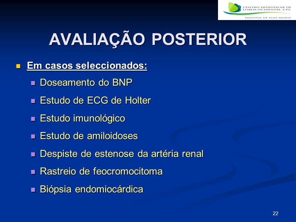 AVALIAÇÃO POSTERIOR Em casos seleccionados: Doseamento do BNP