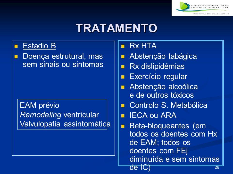 TRATAMENTO Estadio B Doença estrutural, mas sem sinais ou sintomas
